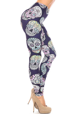 Wholesale Creamy Soft Indigo Jelly Bean Sugar Skull Extra Plus Size Leggings - By USA Fashion™