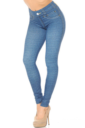 Wholesale Creamy Soft Dark Blue Denim Jean Plus Size Leggings - By USA Fashion™