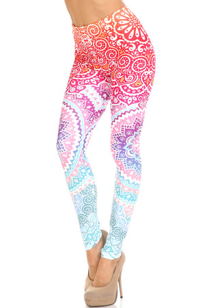 Wholesale Creamy Soft Ombre Mandala Aztec Plus Size Leggings - USA Fashion™