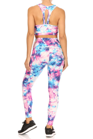 Wholesale High Waisted Daffodil Tie Dye Sports Leggings and Crop Top - 2 Piece Set