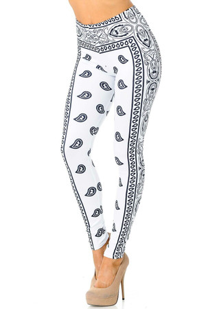 Wholesale Creamy Soft White Bandana Plus Size Leggings - USA Fashion™