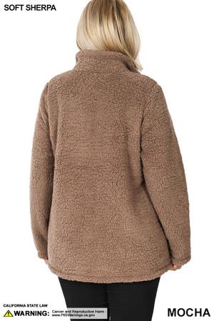 Back side image of Mocha Wholesale Sherpa Zip Up Plus Size Jacket with Side Pockets