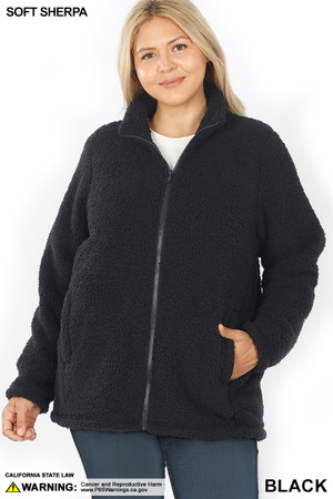 Front image of Black Wholesale Sherpa Zip Up Plus Size Jacket with Side Pockets