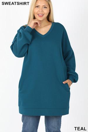 Front image of Teal Wholesale Oversized V-Neck Longline Plus Size Sweatshirt with Pockets