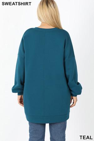 Back image of Teal Wholesale Oversized V-Neck Longline Plus Size Sweatshirt with Pockets