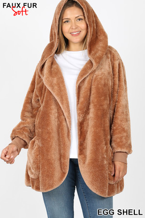Front Image of Eggshell Wholesale Faux Fur Hooded Cocoon Plus Size Jacket with Pockets