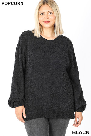 Front image of Black Wholesale Popcorn Balloon Sleeve Round Neck Plus Size Pullover Sweater