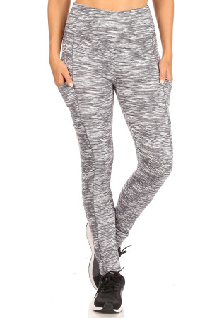 Wholesale Tummy Sculpting Light Fleece Heathered Sport Leggings
