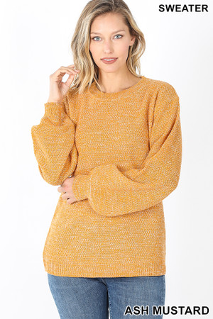 Front image of Ash Mustard Wholesale Balloon Sleeve Melange Sweater