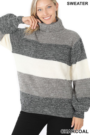 Front view of Charcoal Wholesale Color Block Striped Turtle Neck Balloon Sleeve Sweater