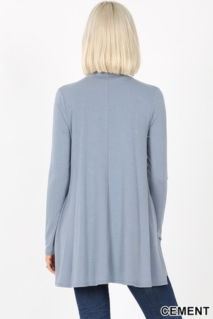 Back image of Cement Wholesale Long Sleeve Mock Neck Top with Pockets