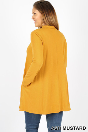 45 degree back image of Ash Mustard Wholesale Long Sleeve Mock Neck Plus Size Top