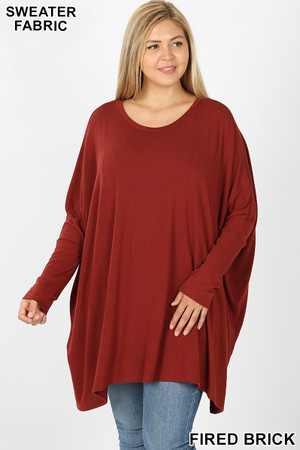 Front view of Fired Brick Wholesale Oversized Round Neck Poncho Plus Size Sweater