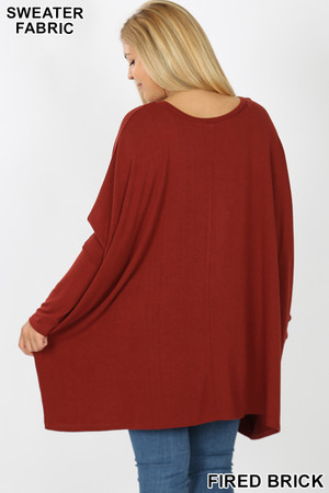 Rear view image of Fired Brick Wholesale Oversized Round Neck Poncho Plus Size Sweater