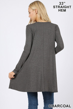 Back of Charcoal Wholesale Long Sleeve Swing Tunic with Pockets