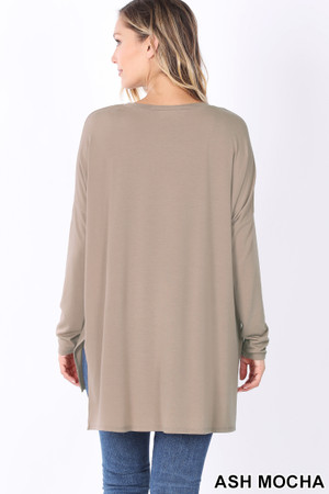 Back image of Ash Mocha Wholesale Dolman Long Sleeve V-Neck Side Cut Hi-Low Hem Top
