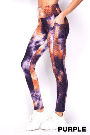 Wholesale Scrunch Butt Tie Dye Textured High Waisted Leggings with Side Pockets