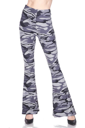 Wholesale Buttery Soft Charcoal Camouflage Bell Bottom Leggings