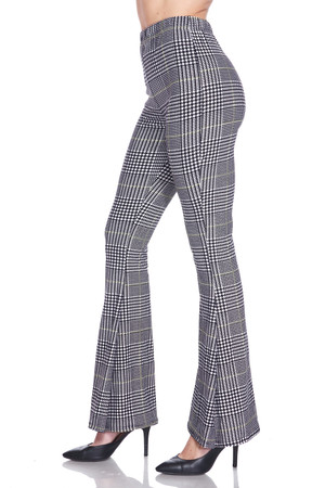 Wholesale Buttery Soft Sunshine Plaid Bell Bottom Leggings