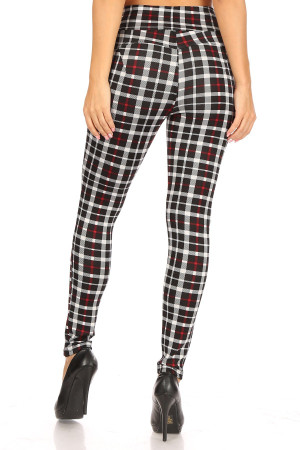 Wholesale Red Accent Plaid High Waisted Body Sculpting Treggings with Pockets
