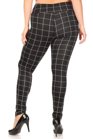 Wholesale High Waisted Grid Print Button Detail Plus Size Treggings with Pockets