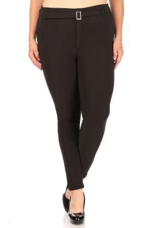 Wholesale Black Belted Plus Size Treggings with Pockets