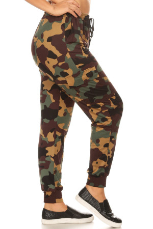 Wholesale Brown Camouflage Cargo Plus Size Joggers