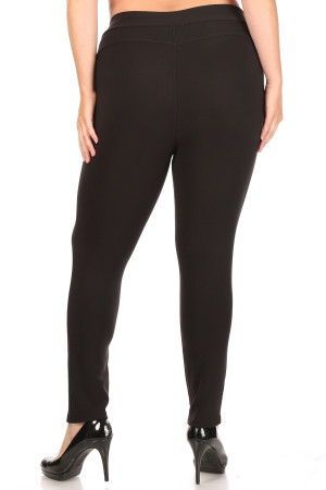 Wholesale Solid Black Body Sculpting Plus Size Treggings with Pockets