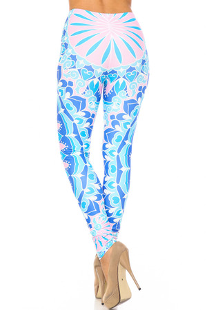 Wholesale Creamy Soft Bursting Blue Mandala Extra Plus Size Leggings - 3X-5X - USA Fashion™