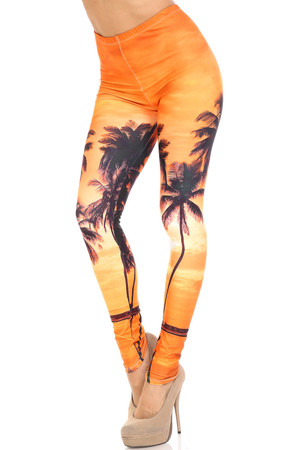 Wholesale Creamy Soft Sunset Palm Extra Plus Size Leggings - 3X-5X - USA Fashion™