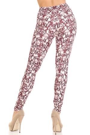 Wholesale Creamy Soft Crimson Snakeskin Leggings - USA Fashion™
