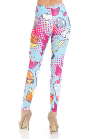 Wholesale Creamy Soft Fast Food Comic Plus Size Leggings - USA Fashion™