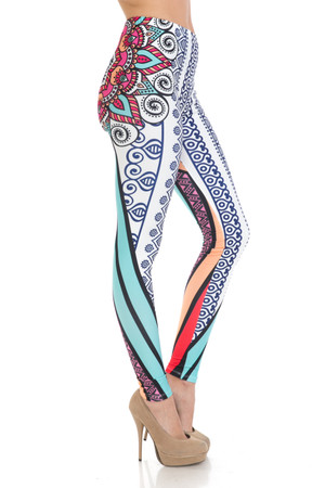 Wholesale Creamy Soft Sexy Vertical Contouring Mandala Plus Size Leggings - USA Fashion™