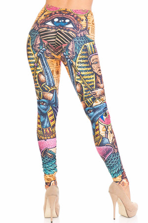Wholesale Creamy Soft Gods of Egypt Extra Plus Size Leggings - 3X-5X - USA Fashion™