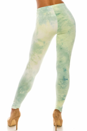 Wholesale Buttery Soft Mint Tie Dye Plus Size Leggings