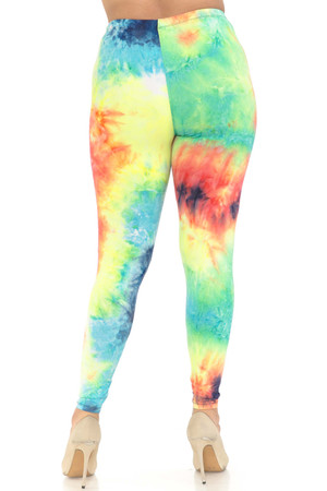 Wholesale Buttery Soft Summer Yellow Tie Dye Extra Plus Size Leggings - 3X-5X