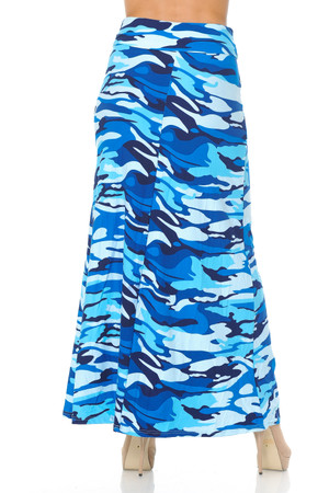 Wholesale Buttery Soft Blue Camouflage Maxi Skirt