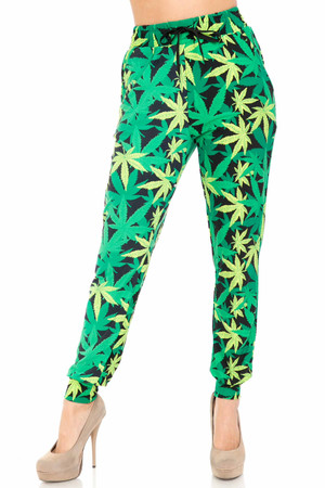 Wholesale Buttery Soft Cannabis Green Marijuana Joggers