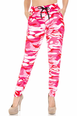 Wholesale Buttery Soft Pink Camouflage Joggers - EEVEE