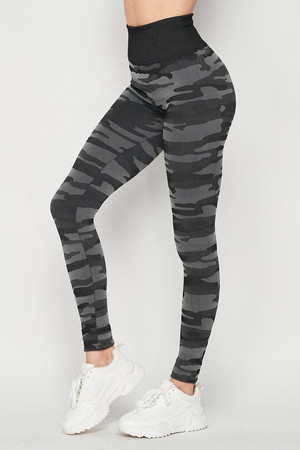 Left side of Charcoal Wholesale Seamless Camouflage High Waist Sport Leggings