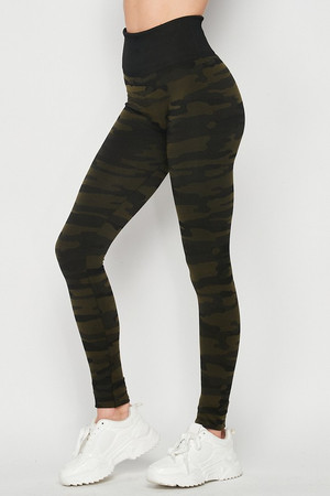 Left side image of Olive Wholesale Seamless Camouflage High Waist Sport Leggings