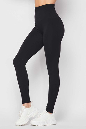 Black Wholesale Premium Comfort Body Wrapped High Waist Workout Leggings