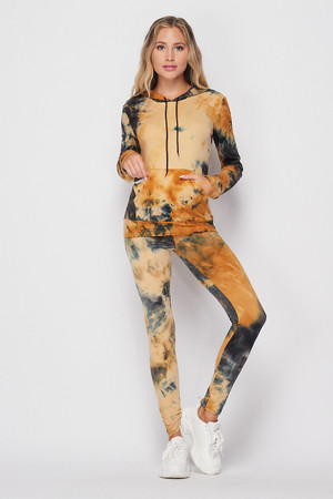 Front of Camel Wholesale Tie Dye 2 Piece Leggings and Hooded Jacket Set