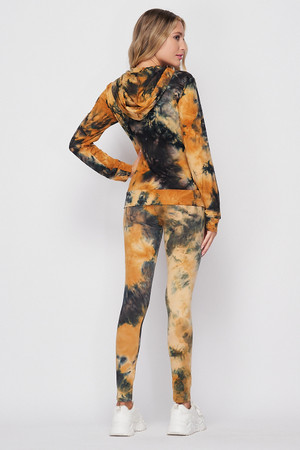 Back side of Camel Wholesale Tie Dye 2 Piece Leggings and Hooded Jacket Set