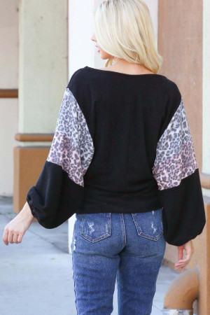 Black Wholesale Leopard Contrast Balloon Sleeve Plus Size Top