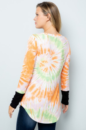 Orange Wholesale Tie Dye Contrast Cuff Long Sleeve Plus Size V Neck Top