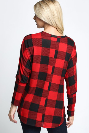 Red Wholesale Buffalo Plaid Long Sleeve Dolman Top