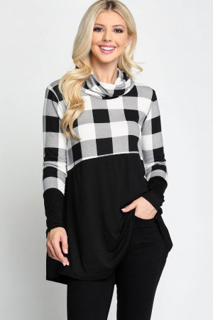 Wholesale Split Buffalo Plaid Contrast Cowl Neck Long Sleeve Plus Size Top