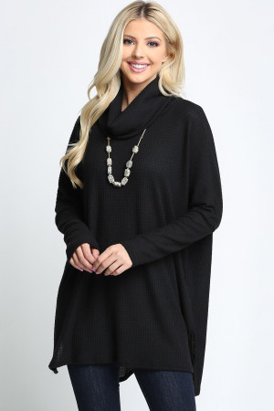 Black Wholesale Waffle Knit Cowl Neck Dolman Sleeve Plus Size Top