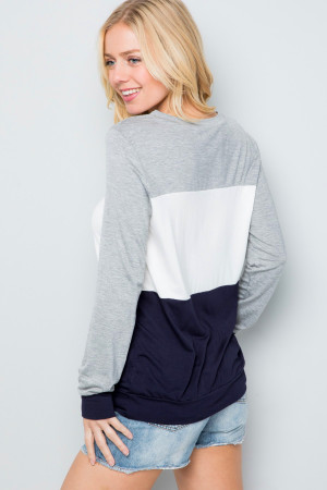 Navy Wholesale Color Blocked Long Sleeve Top